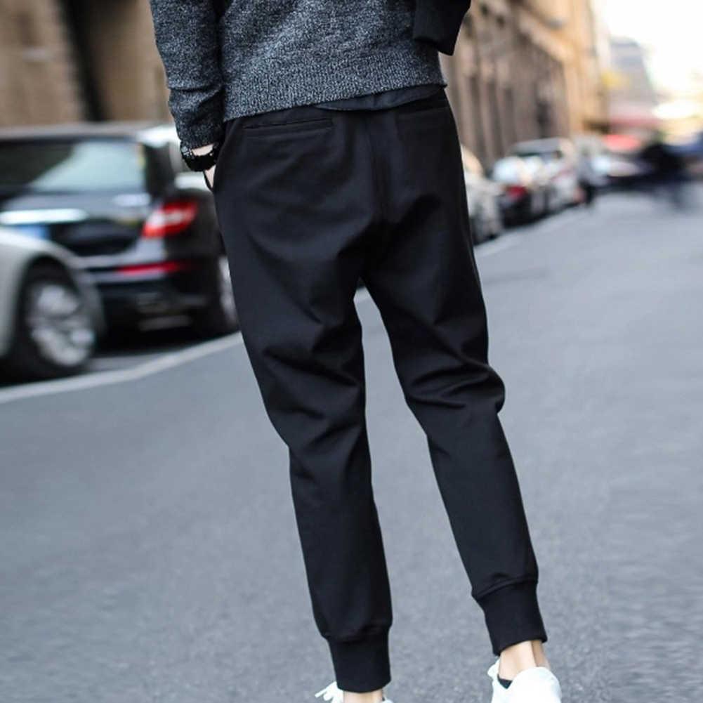 男性カジュアルウエスト巾着足首縛らポケットフィットネススポーツロング鉛筆パンツ巾着ポケットスポーツパンツ