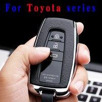 Funda aleación Galvanizada de alta calidad para llave de coche para Toyota Camry Mark X RAV 4 PRADO COROLLA HIGHLANDER 2 3 botones sin llave|Carcasa de llave para coche| |  -
