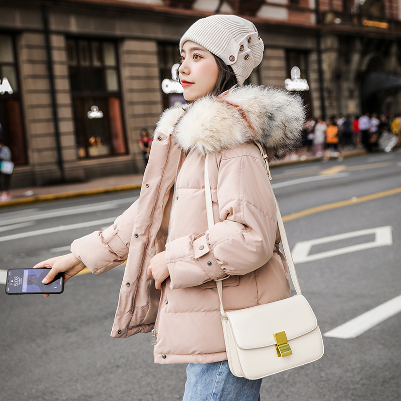 Chic Women Short Hooded Bakery Oversize Winter   Down     Coat   Heavy Jacket Thick Warm Cotton Padded Wadded Parkas Big Pocket