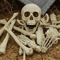 28PCS/SET Skeleton Halloween Prop 100% Plastic Lifelike Human Bones Skull Figurine For Horror Halloween Party Decoration