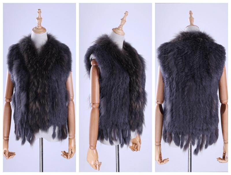 H28de5a12c3e9466fae13181044043d83W Brand New Women's Lady Genuine Real Knitted Rabbit Fur Vests tassels Raccoon Fur Trimming Collar Waistcoat Fur Sleeveless Gilet