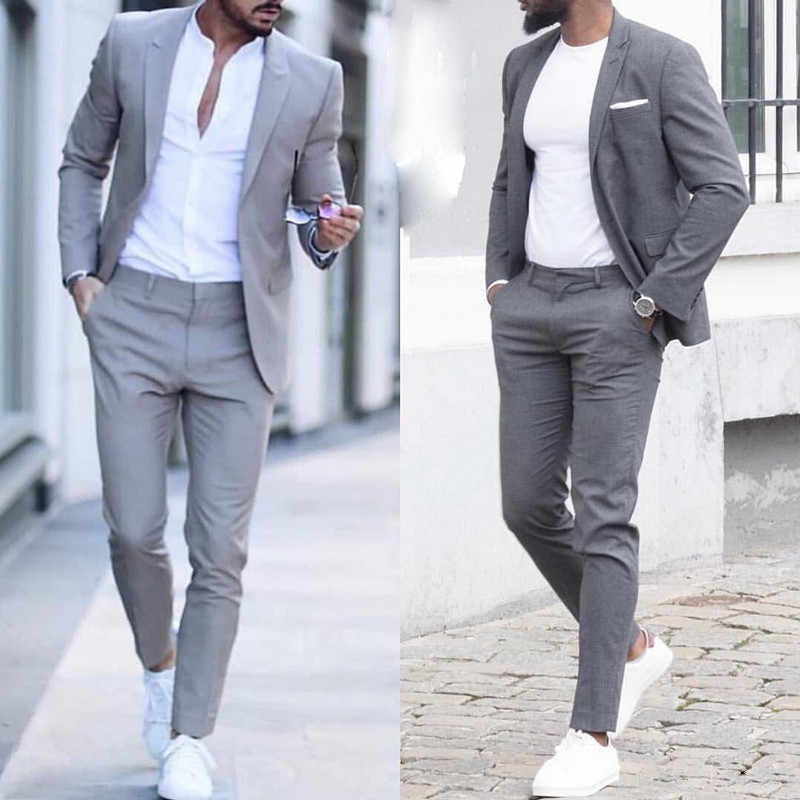 Latest Mens Slim Fit Suits Casual Custom Mens Business Formal Tuxedo Wedding Suits 2 Pieces Costume Homme Jacket Pants