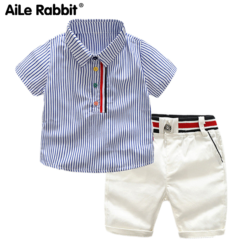 2020 New Boys Clothes Set Striped Shirt Shorts Set Of 2 Fashion Short-sleeved Tops Pants 2-piece Set For Children 2-6 Years Boy