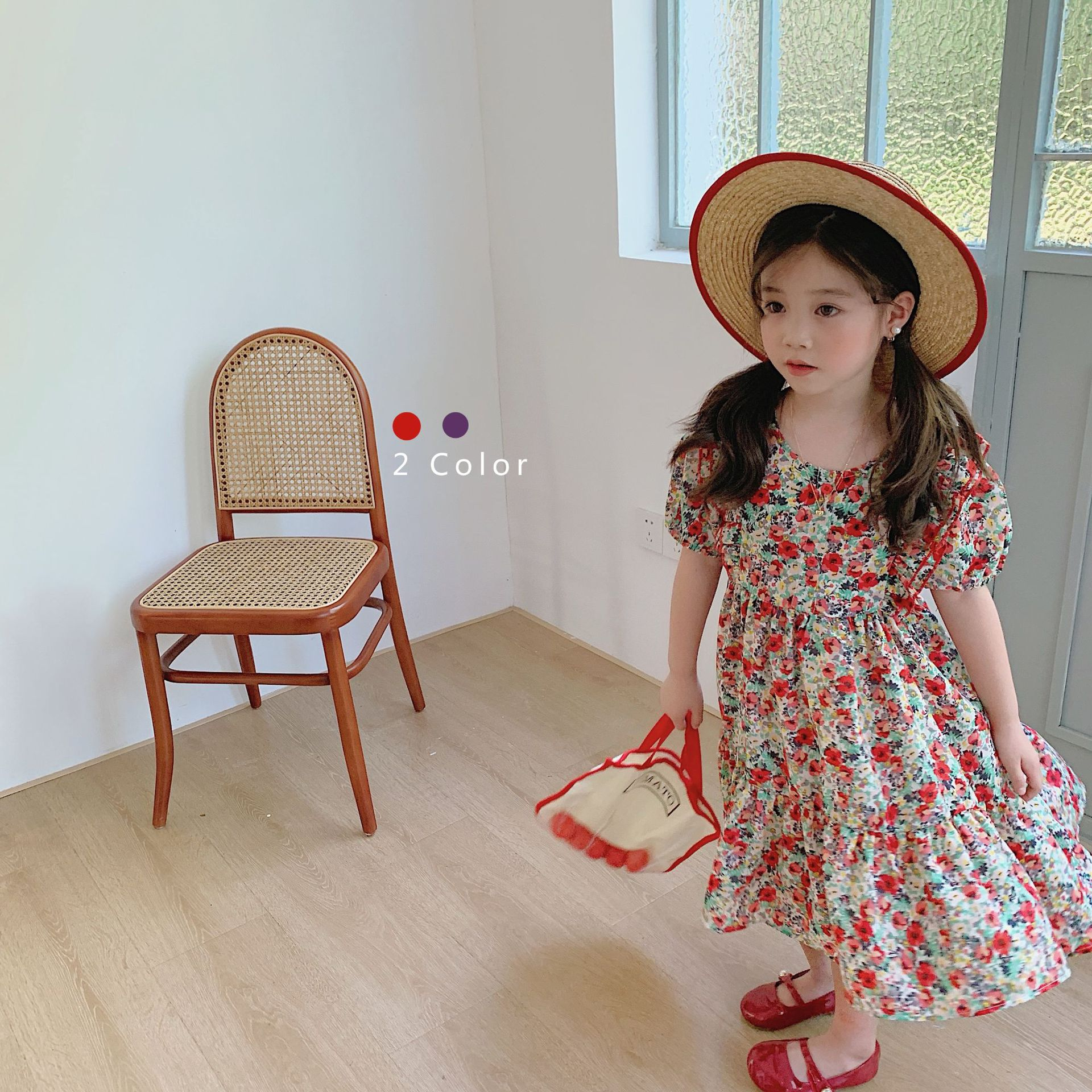 3744 2-color Floral Ribbon Dress 2020 Summer Baby Girls 10 Years Dresses Romantic Ruffle Sleeveless Dress Children Dress