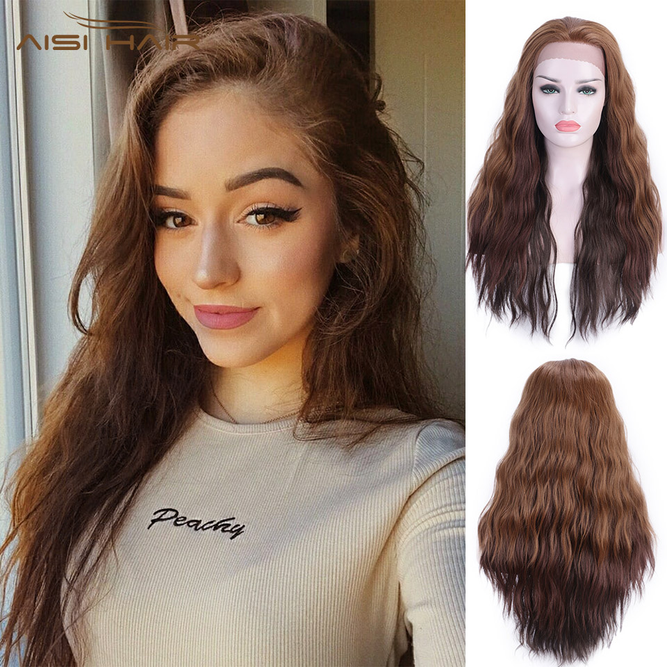 I's A Wig Synthetic Lace Front Wig 13X4 Long Wavy Brown Lace Wigs For Women High Temperature Fiber Free Part Nature Wig