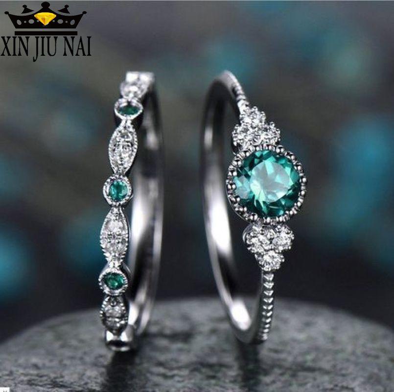 3 צבעים Stackable כפול טבעות סטים לנשים 925 כסף עגול ירוק כחול זירקון אבן אירוסין נשי אבן המזל טבעת