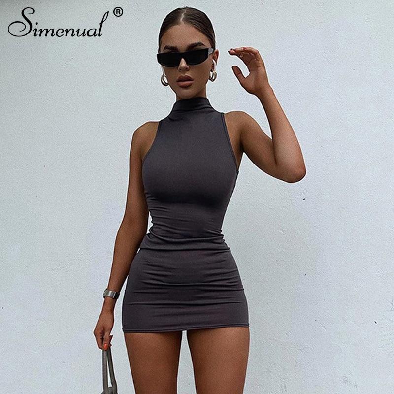 Simenual Sleeveless Casual 2020 Summer Fashion Women Mini Dress Street Style Skinny Bodycon Solid Basic Slim Female Dresses Hot