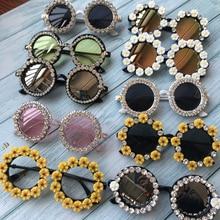 M16 Великолепные женские солнцезащитные очки с кристаллами и бриллиантами, круглые очки ручной работы, UV400, зеркальные линзы, цветочный дизайн, летние солнцезащитные очки