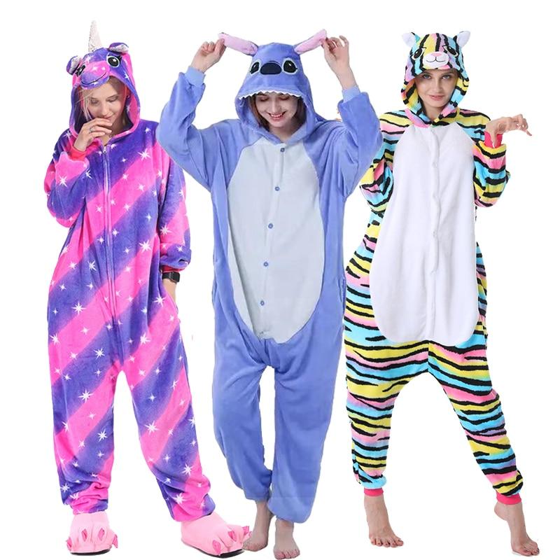 Kigurumi Unicorn Pajamas For Boys Girls Women Men Pajamas Sets Onesie Adults Animal Panda Stitch Sleepwear Cosplay Pyjamas Kids