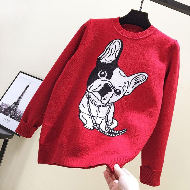 Gagarich Women Sweater 2019 New Cartoon Dog Print Cute Loose Long Sleeve O-neck Girl Bottom Pullovers Warm Winter Tops