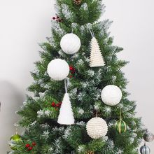 Christmas Plush Foam Ball Ornament  Decoration For Home Xmas Tree Pendant Holiday Party Supplies