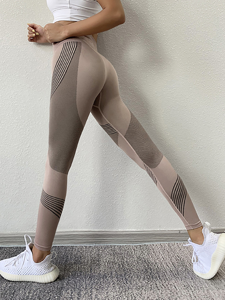 SVOKOR Gym Leggings Fitness-Pants Stretch High-Waist Sports Peach Quick-Drying Hips