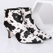 LAIGZEM/ г. Модные женские ботинки с леопардовым принтом на каблуке «рюмочка», «Зебра», «Змейка» качественная зимняя женская обувь размер 34-39