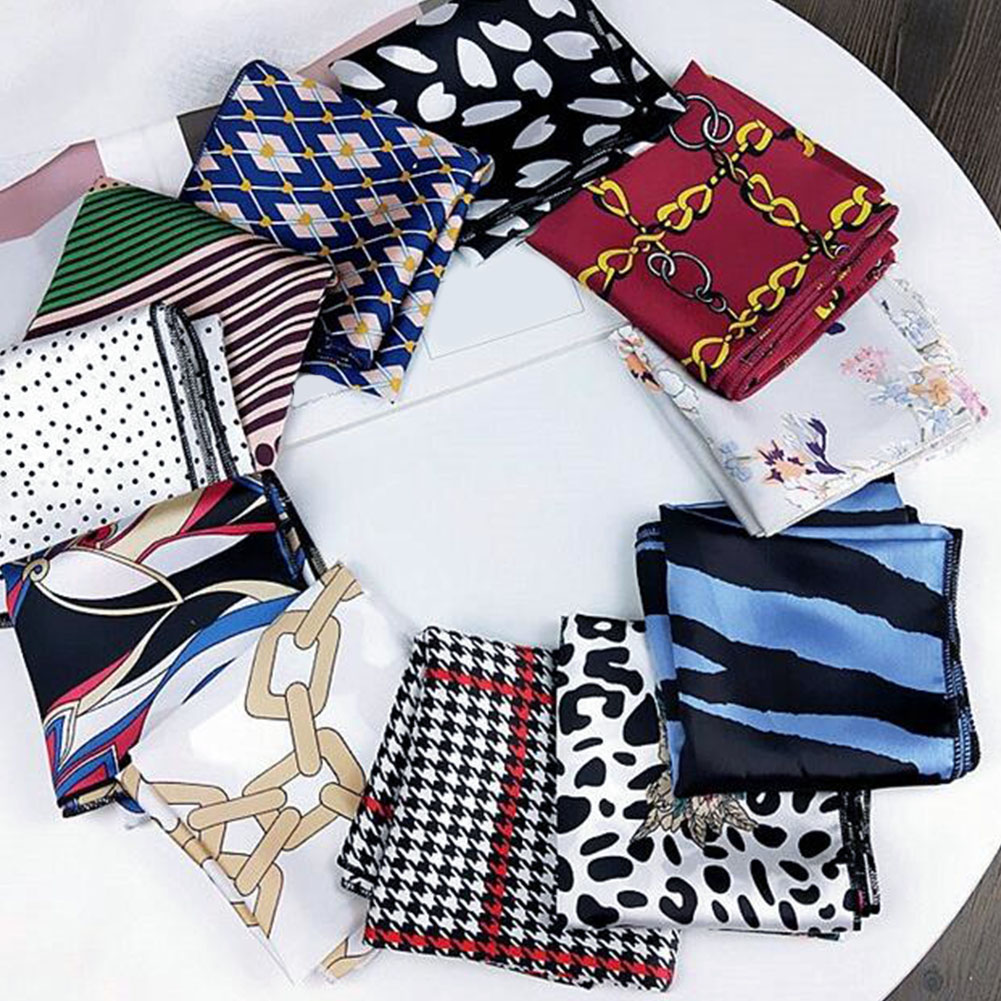 Fashion Small Square Satin Scarf Head Neck Scarf Foulard Femme Bandana Elegant Women's Hair Tie Band Wrap Silk Scarf Neck Scarf