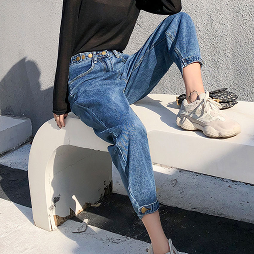 new Vintage ladies boyfriend jeans for women mom high waisted jeans blue casual pencil trousers korean streetwear denim pants