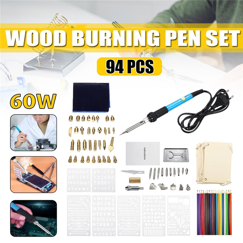 94PCS 60W Wood Burning Pen Set Stencil Soldering Tips Tools Pyrography Kit EU/US/UK/AU Plug