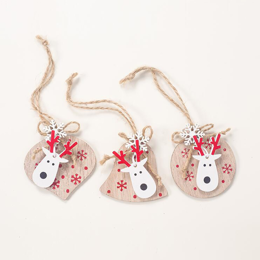 3pcs Happy Merry Christmas Party Hanging Ornaments Elk Heart Windows Decorations for Home Garden Xmas Tree Top Decoration Favors in Pendant Drop Ornaments from Home Garden