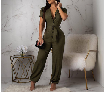 2020 new European and American women's fashion casual temperament sexy features solid color jumpsuit pants with belt S-XL casual women s satchel with zips and solid color design