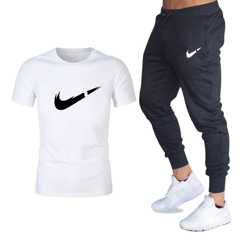 2019summer Fashion Printing Two-piece Men's Tops+Sweatpants Men's Gym Sportswear Training Clothe Scasual Wear Men'sT-shirt Suit