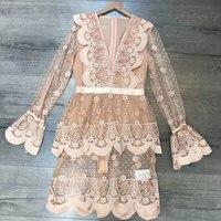 New Runway Designer Flare Sleeve Fashion Sexy Deep V neck Mini dress Pink Luxury Brand Fall/autumn Lace Ruffled Dress White TG
