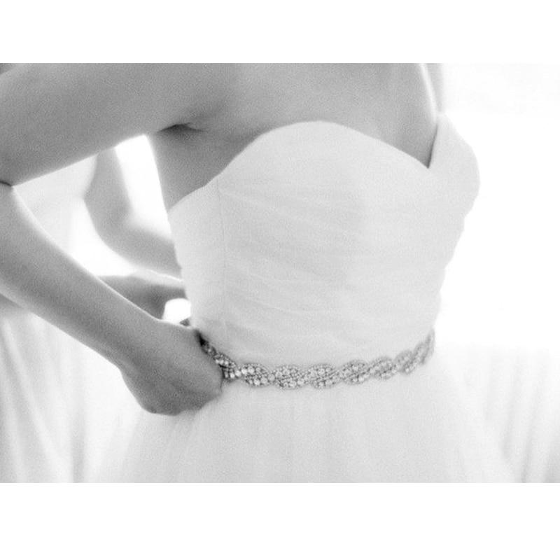 MissRDress Wedding Dress Belts Rhinestones Belt Silver Crystal Diamond Flower Belt Bridal Sash For Wedding Accessories JK947