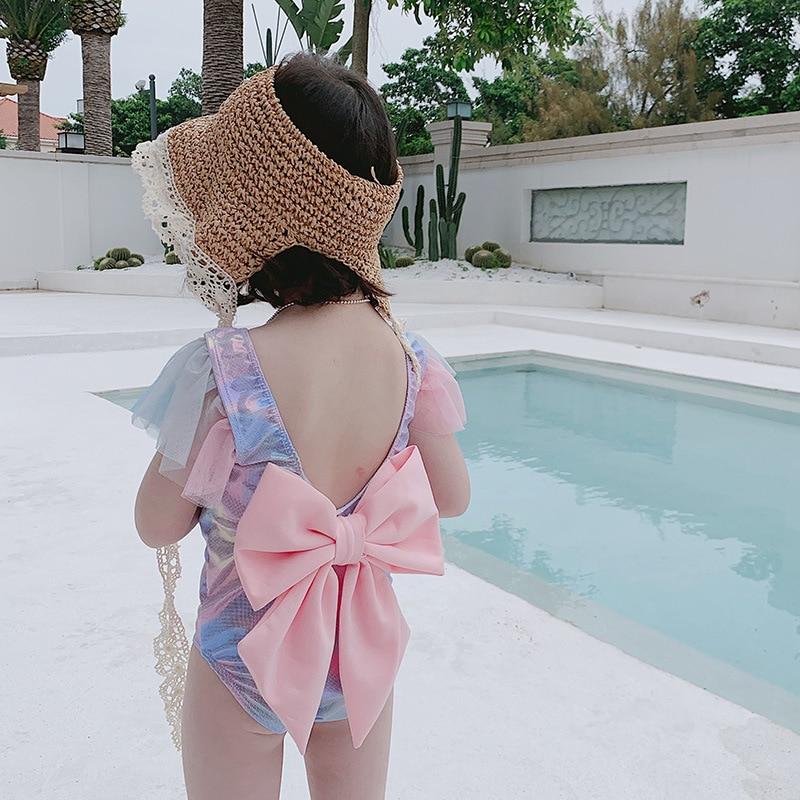 INS Bronze Cute KID'S Swimwear Women's Hot Springs One-piece Swimwear Girls Baby Infant Princess Mermaid Swimsuit