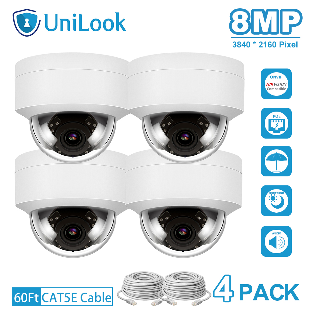 UniLook 4K 8MP IP Camera POE Outdoor Security Camera 4 PCS In Package Built-in Mic IP66 IR 30m Hikvision Compatible Onvif H.265