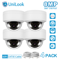UniLook 4K 8MP IP Camera POE Outdoor Security Camera 4 PCS In Package Built in Mic IP66 IR 30m Hikvision Compatible Onvif H.265