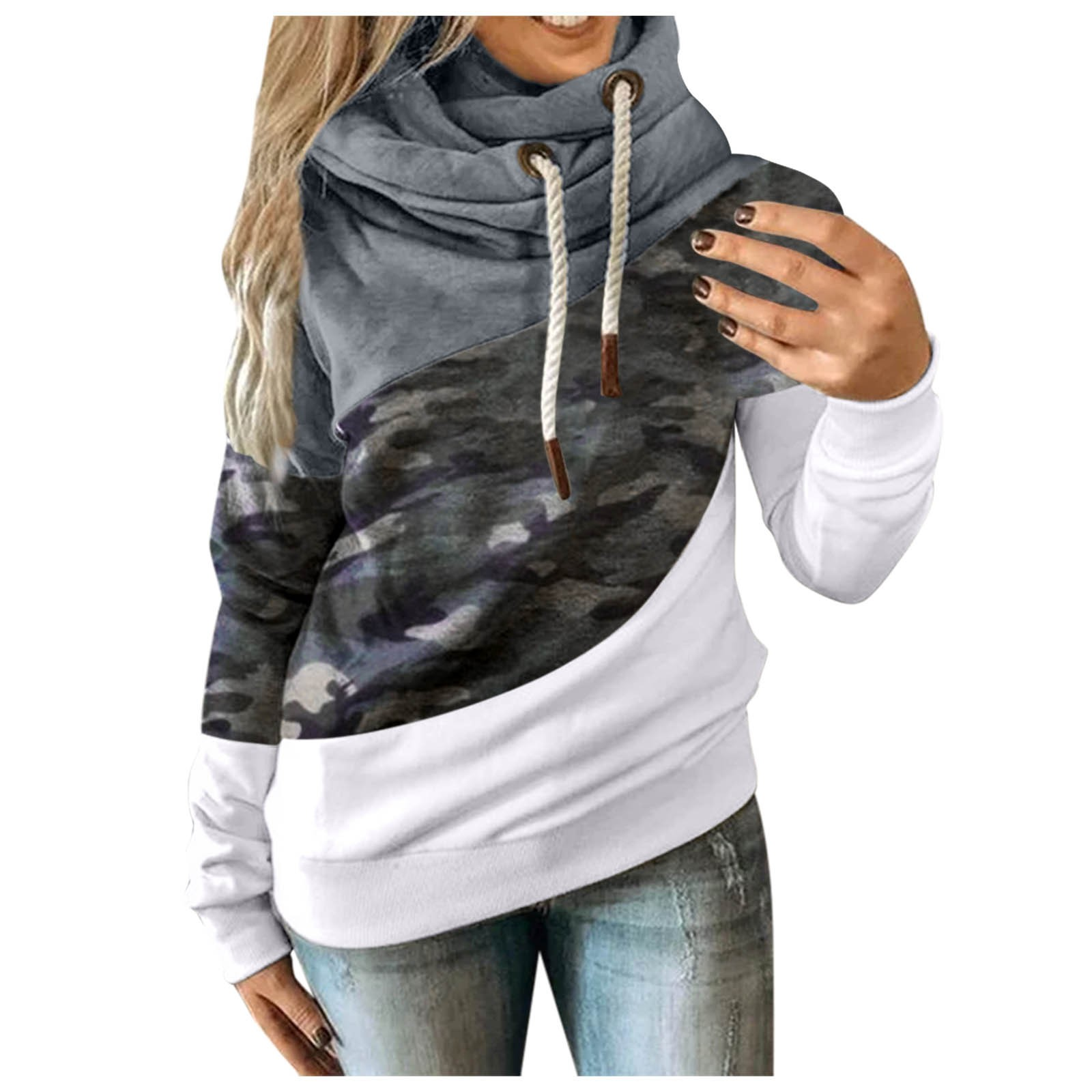 Hot Sale Women Casual Solid Contrast Long Sleeve Hoodie Sweatshirt Patchwork Printed Tops Sudaderas Mujer 2020 F Fast Ship 8