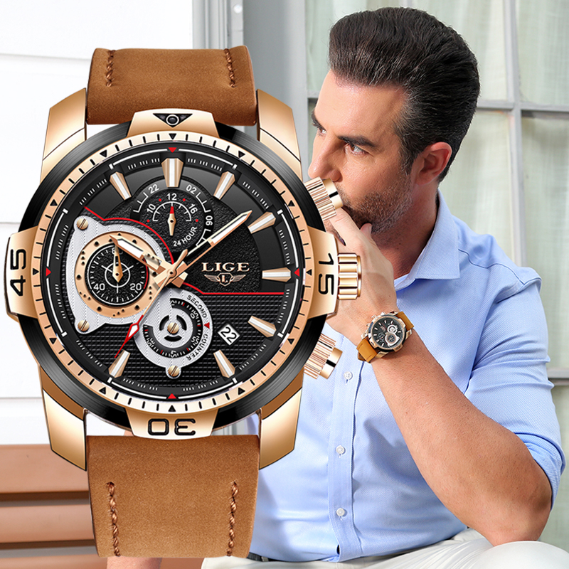 2020 LIGE Mens Watches Top Brand Luxury Casual Leather Quartz Clock Male Sport Waterproof Watch Gold Watch Men Relogio Masculino 6