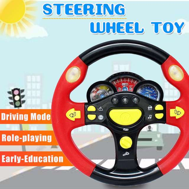 Children's Toy Simulation Steering Wheel with Light Copilots Pretend Play Driver  Early Education Sound Toy Baby Kids Gift 2