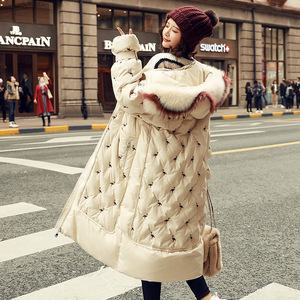 Image 1 - 100% white duck down jacket female explosion models winter natural fox big fur collar long section thick ladies down jacket