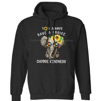 Elefante autismo, puedes elegir la amabilidad de los hombres, algodón negro neutro para hombre (), sudaderas con capucha de invierno, envío gratis