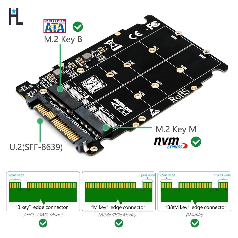 M.2  Nvme Ssd Key M Key B SSD To U.2 SFF-8639 Adapter,m2 M Key Adapter,m.2 Nvme To Sata(Non-SATA Interface)