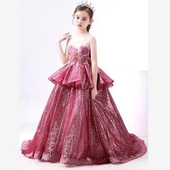 High-end Luxury Girls Dresses Kids Sequins Stitching Catwalk Evening Gowns birthday party Dress for girls Vestidos Y2710