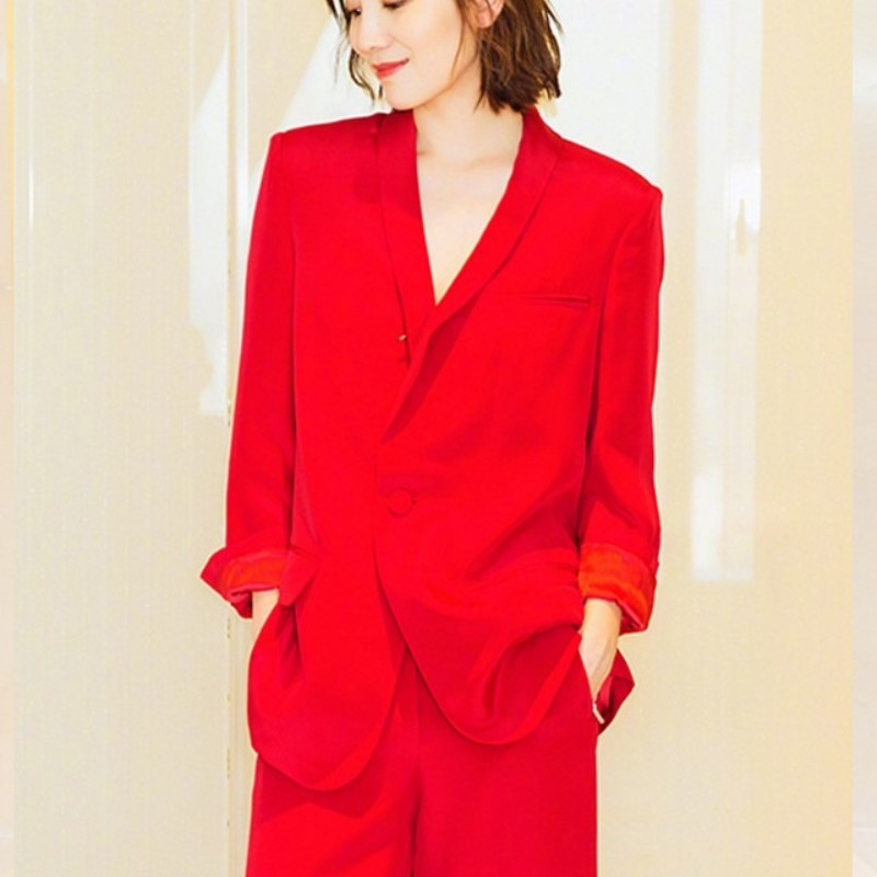 OL Style Red Wide Leg Pant & Single Button Slim Blazer Jacket Two Piece Set Women 2020 New Luxury Runway Office Pant Suit Female