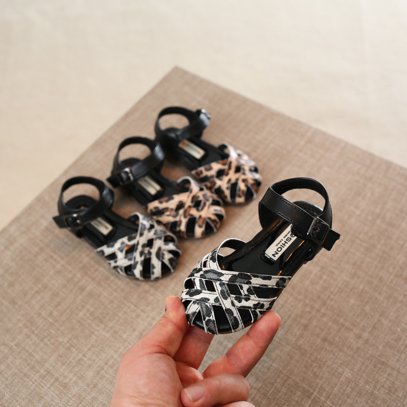 Girls Casual Sandals Summer Leopard Princess Shoes Baby Soft Bottom Beach Shoes 1-3 Years Old Sandals
