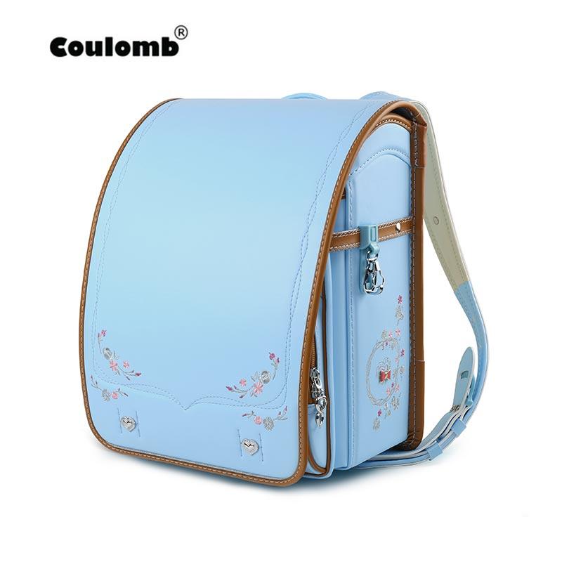 Coulomb Japan Children School Bag For Girls Kid Orthopedic Backpack For School Students Bookbags PU Randoseru Bags 2019 New