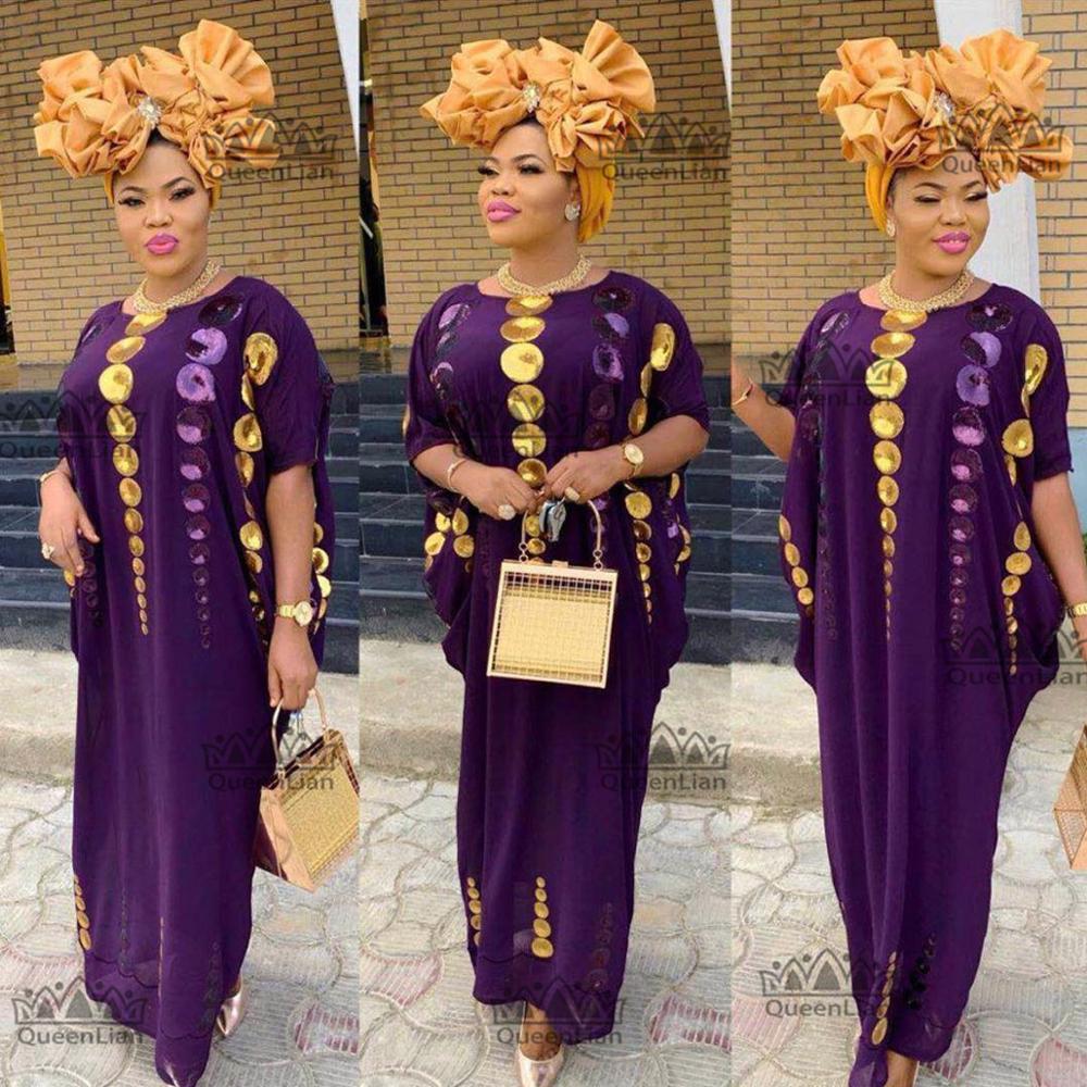 Где купить 2020 новый африканский свободный дизайн из 2 частей шифоновое платье с длинным рукавом Дашики для леди