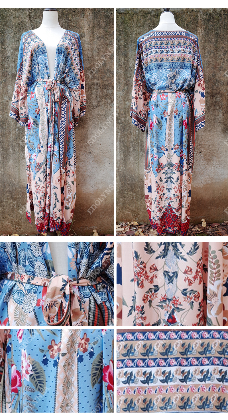 H28e12cee77c24d73be377f9d32691a76C - Bohemian Printed Half Sleeve Summer Beach Wear Long Kimono Cardigan Cotton Tunic Women Tops Blouse Shirt Sarong plage N796