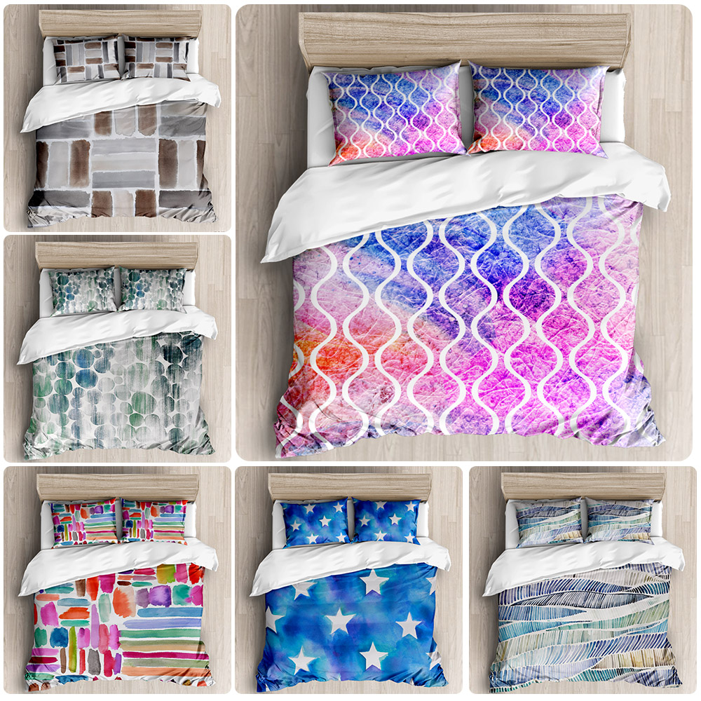 2020 New Fashion Ink Style Bedding 2 / 3 Piece Set With Classic Wood Pattern Simple Cover Quilt Cover And Pillow Case