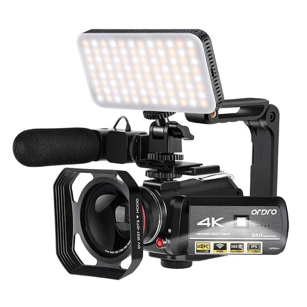 Видеокамера 4K для блогера, Ordro AC3 ИК Ночное Видение Wi-Fi Цифровая камера s Профессиональная, видеокамера с поддержкой YouTube Full HD