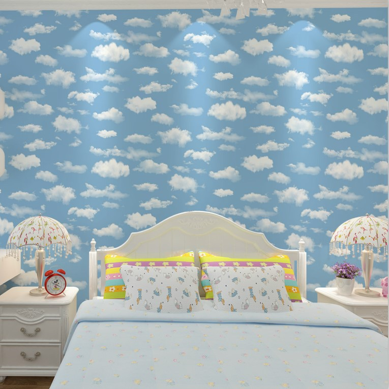 Blue Sky And White Clouds Wallpaper Ceiling Sky Cartoon Wallpaper Environmentally Friendly CHILDREN'S Room Bedroom Living Room B