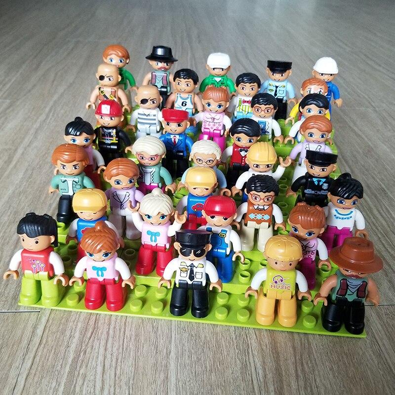 Grande construção tijolos figuras de ação blocos compatíveis com duplo família modelo personagem casa boneca brinquedos para crianças presente brinquedo
