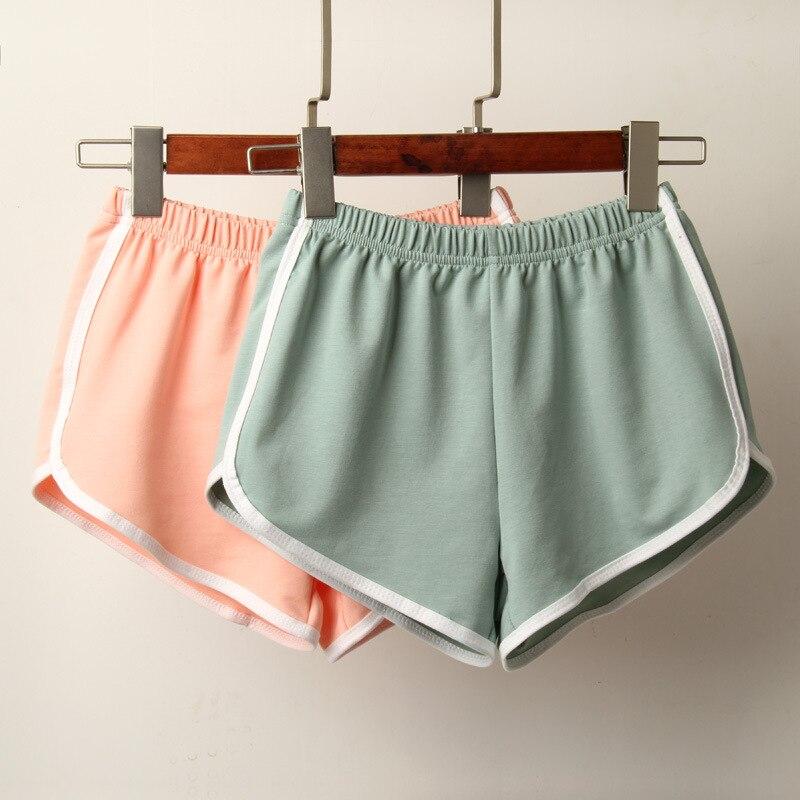 Neue Sport-Shorts Frauen Sommer Candy Farbe Anti Geleert Dnne Shorts Casual Dame Elastische Taille Strang Correndo Kurze Hosen