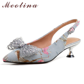 Meotina High Heels Women Pumps Embroider Flower Kitten Heels Slingbacks Shoes Bow Buckle Pointed Toe Party Shoes Lady Size 34-39