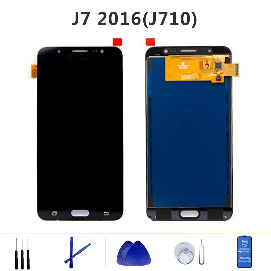 Für Samsung GalaxyJ7 2016 J710 <font><b>J710F</b></font> J710M J710H <font><b>LCD</b></font> Display + Touch Screen Digitizer Helligkeit Einstellbar Montage image
