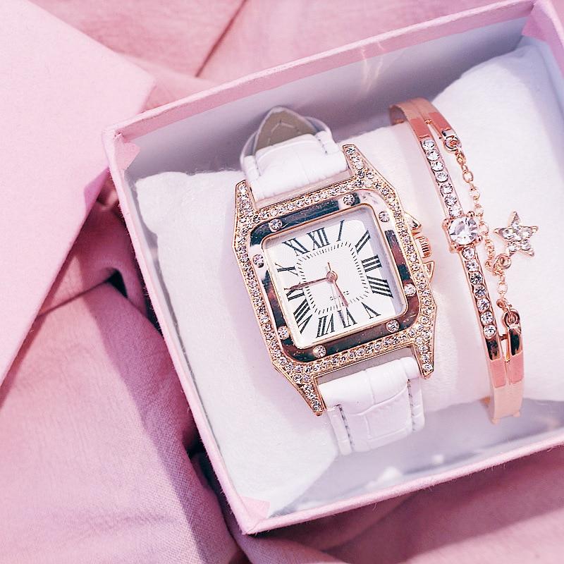 Women Diamond Watch Starry Square Dial Bracelet Watches Set Ladies Leather Band Quartz Wristwatch Female Clock Zegarek Damski 2