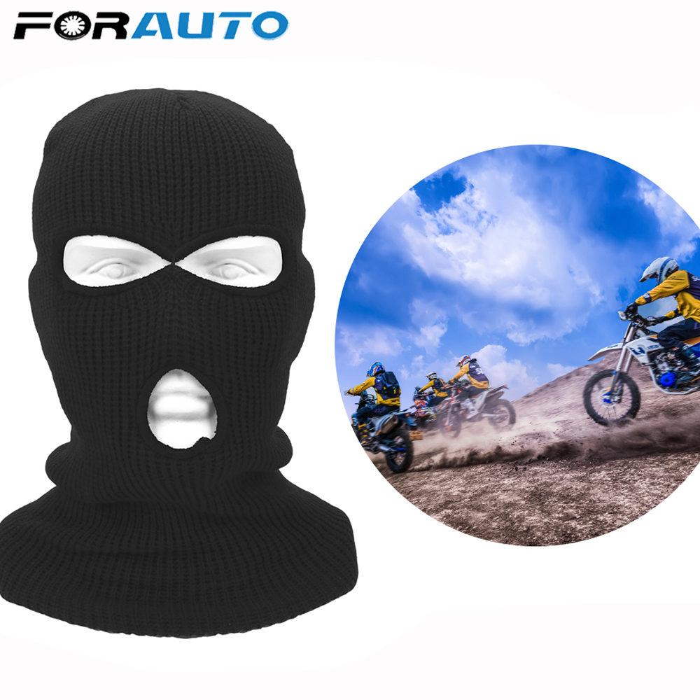 FORAUTO Full Face Mask Army Tactical Mask Winter Stretch Ski Full Face Helmet Balaclava Knit Hat 3 Hole