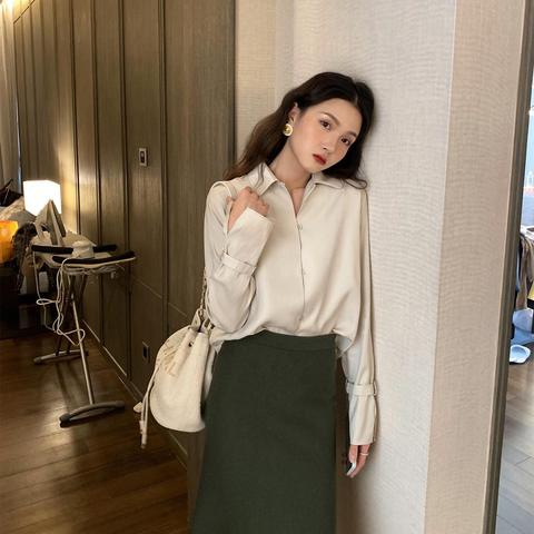 Fashion Satin Silk Blouse Ladies Elegant Office Lady Summer Autumn Casual Long Sleeve blouses shirts Lahore